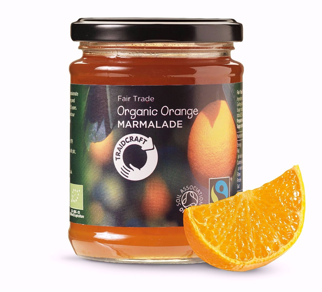 340g glass jar. The attractive label carries a design based on oranges at various stages of ripeness plus the fairtrademark and the mark of the Soil Association