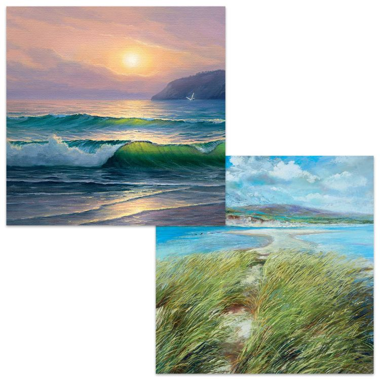 Large square cards. One card shows light shining through waves breaking on a beach as the day draws towards sunset. The other card is a full daylight scene with a footpath leading towards sea and beach area with cliffs in the distance